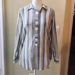 Lucky Brand Vertical Striped Long Henley Top